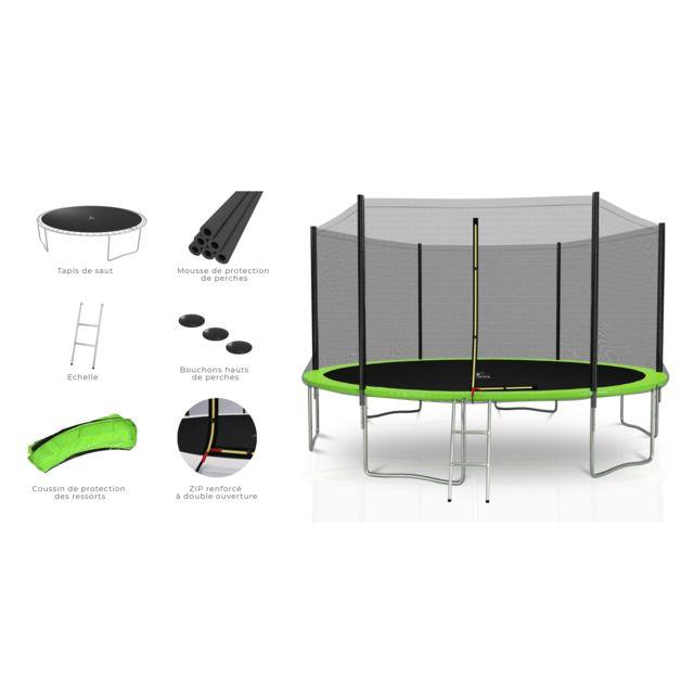 Kaia Sports Trampoline extérieur 14Ft / ø424cm Deluxe Pack trampoline de jardin avec Filet extérieur, mousse de protection, échelle