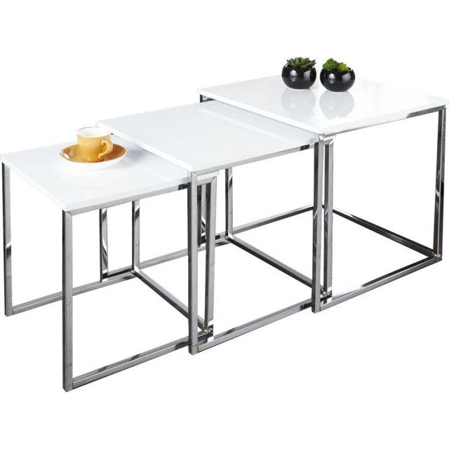 Comforium Table basse design en mdf coloris blanc laqué