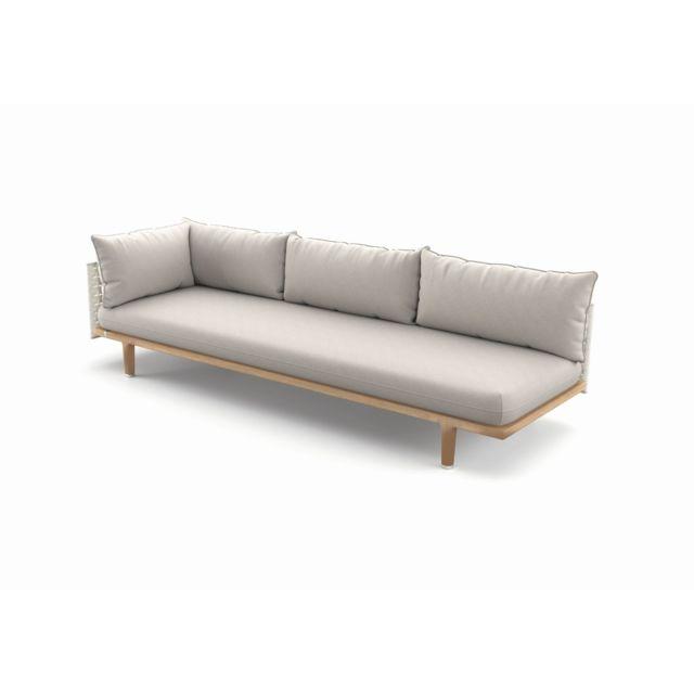 Dedon Module Sealine droite Xl - Coussins d'extérieur standard - sans Housse - silver beige - Lipari - Cool Taupe