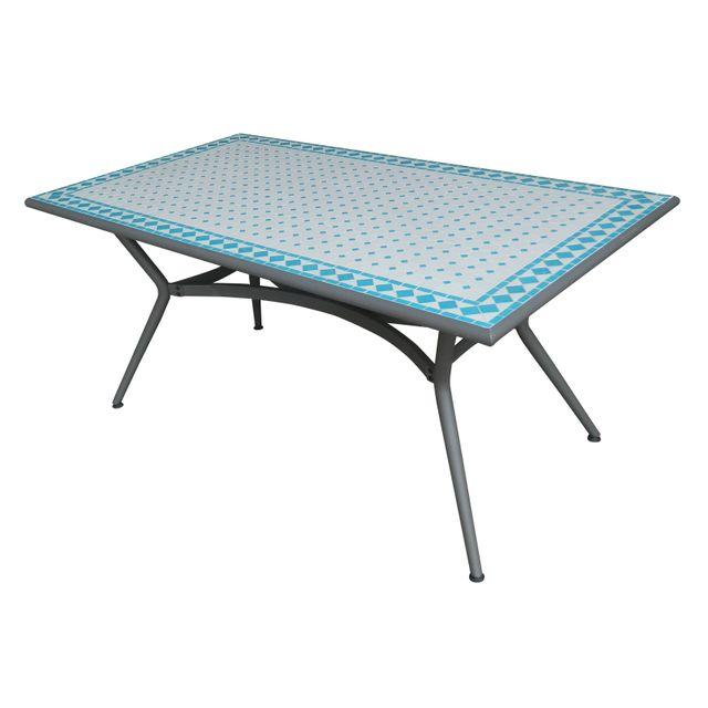 CARREFOUR - Table de jardin mosaïque rectangulaire - 160x90x74 cm ...