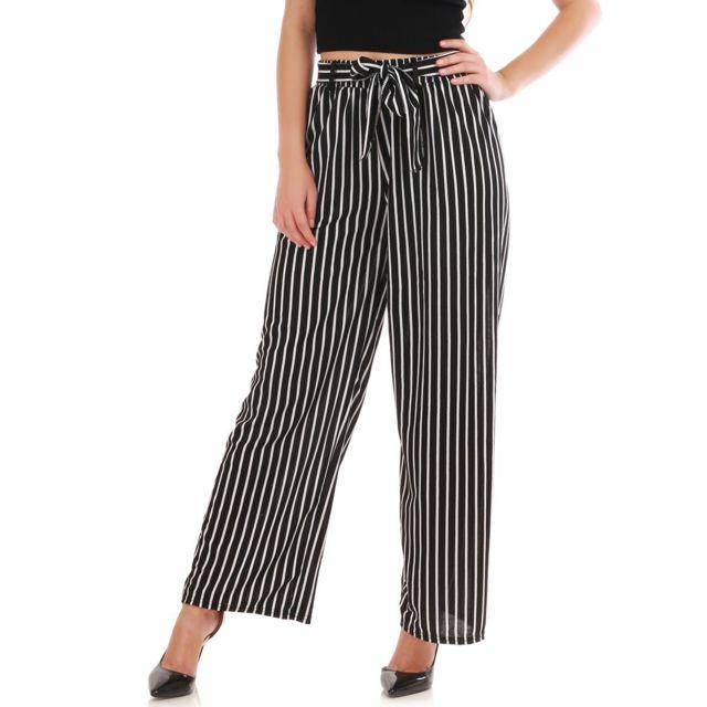 sélection premium 8aab0 d06e5 Lamodeuse - Pantalon noir large à rayures épaisses avec ...