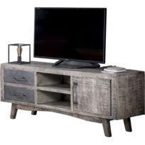 8f0311e61b5f06 COMFORIUM - Meuble tv vintage industrielle 1 porte et 2 tiroirs en bois  massif manguier argile