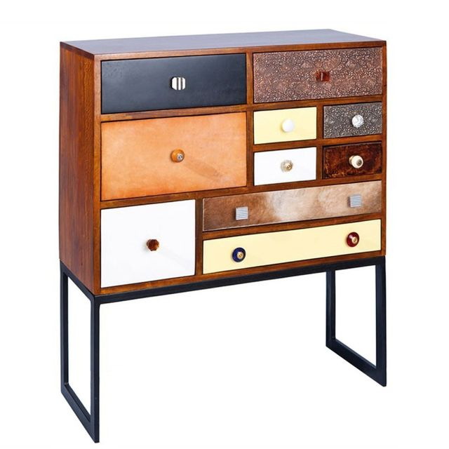 Paris Prix Commode Haute 10 Tiroirs Colorado Marron