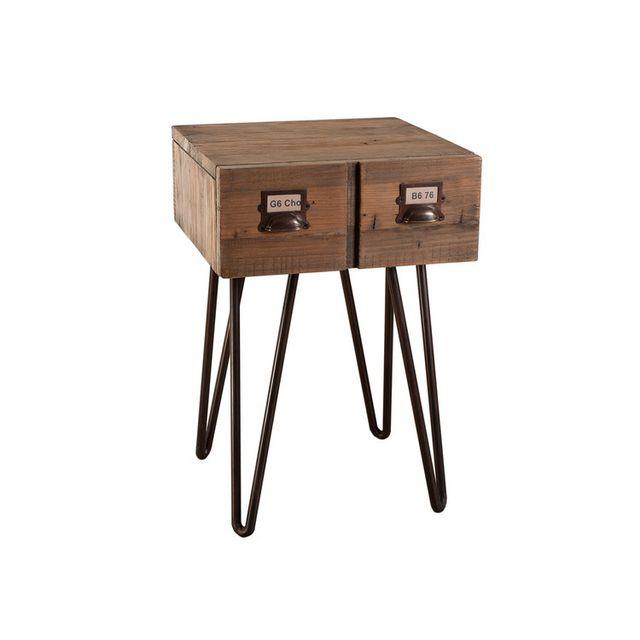 Marque Generique - Chevet en bois et métal avec 1 tiroir Hauteur 60 cm Donna Marron