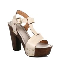 4ever young - Womens Chunky Heel Leather T-bar Strap Sandal - Beige-UK 7