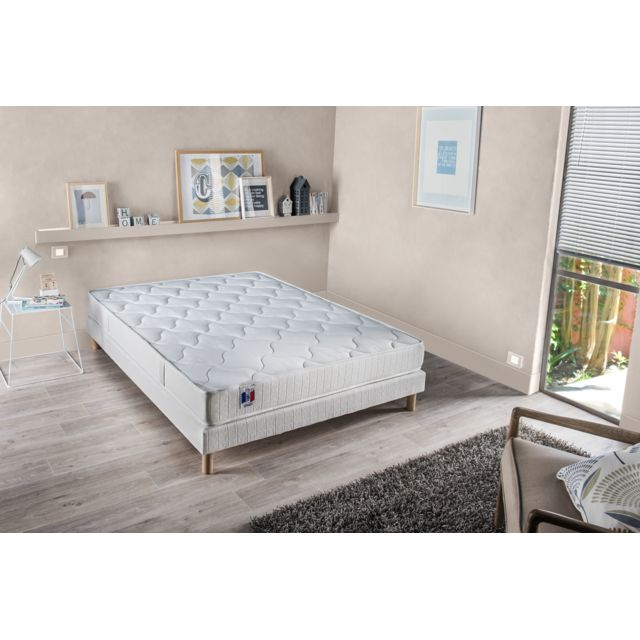 lovea ensemble matelas 100 latex 3 zones sommier bois massif 140x190 insolite pas cher. Black Bedroom Furniture Sets. Home Design Ideas