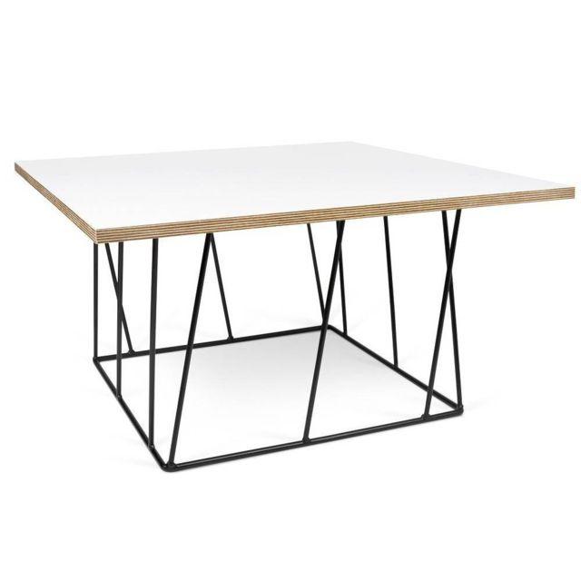 Inside 75 - Table basse carrée Helix 75 structure laquée noire Bi ...