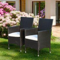 Lot de 2 fauteuils de jardin en résine tressée brun café foncé avec coussins déhoussables blancs neuf 94
