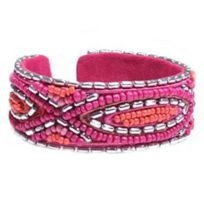 So Chic Bijoux - Bracelet Rigide Femme Perles Rocaille Verre Multicolore Rose Argenté