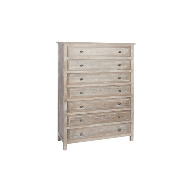 Commode 7 tiroirs bois - coloris bois naturel