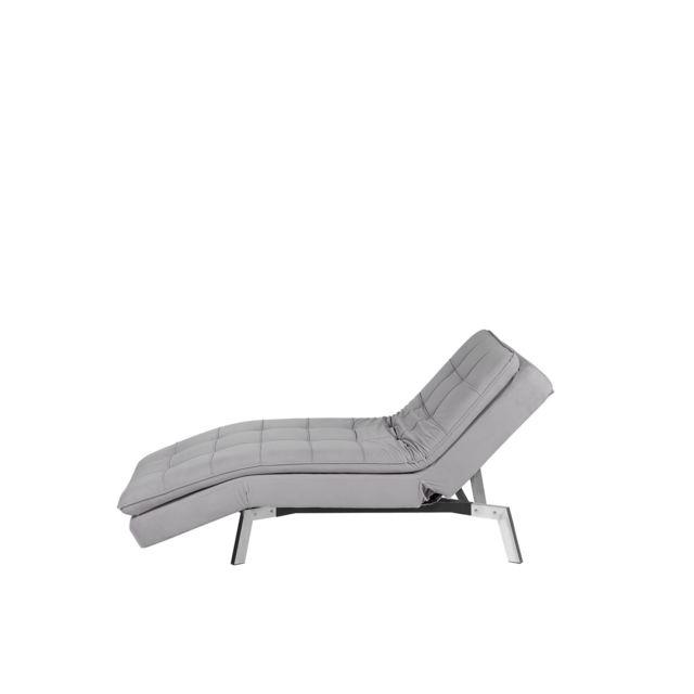 BELIANI Chaise longue réglable gris clair LOIRET - rose