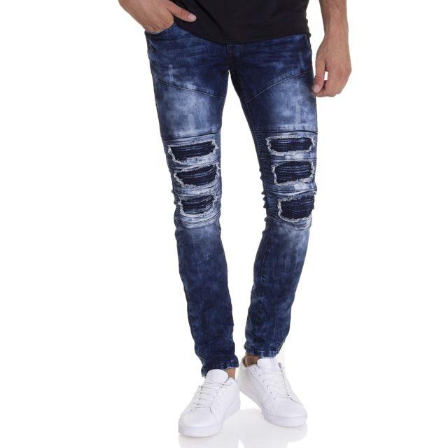 BLZ Jeans - Jean straight tendance effet usé avec empiècement effet arraché 387858684e1