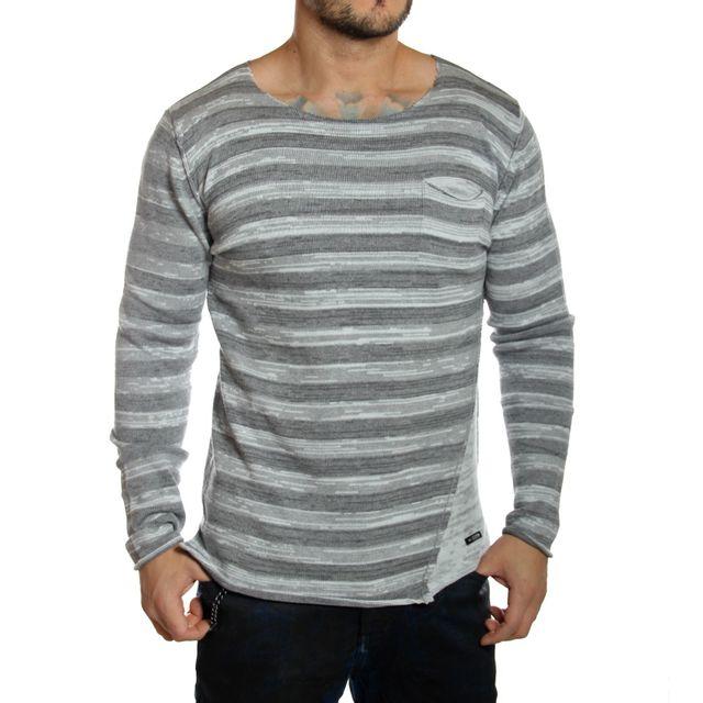 Redbridge - Pull oversize homme rayé gris clair - pas cher Achat   Vente Pull  homme - RueDuCommerce 68ab2e80245f