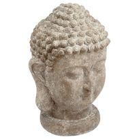 Atmosphera - Statue tête de Bouddha - H. 40 cm - Ciment