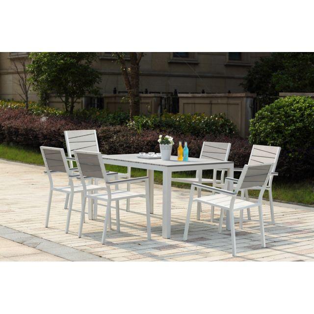Concept usine siderno 6 salon de jardin en aluminium et polywood gris blanc pas cher - Salon jardin aluminium pas cher ...