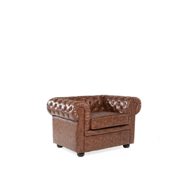 BELIANI Fauteuil en cuir marron Rétro CHESTERFIELD - marron