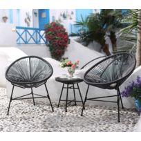 Concept Usine - Acapulco : Ensemble 2 fauteuils oeuf + table basse gris