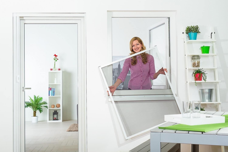 Moustiquaire Cadre fixe Fenêtre Master Slim - Alu Blanc L130 x H150 cm à découper soi-même