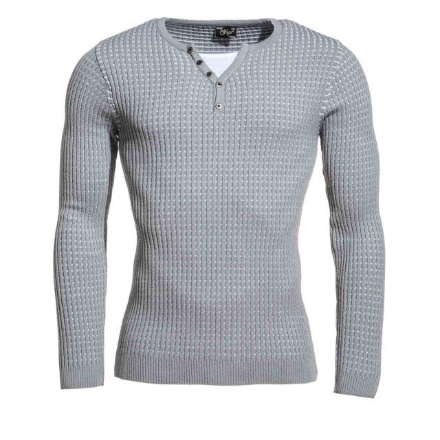 f8a75eadda5 BLZ Jeans - Pullover moulant homme gris et blanc col V à boutons ...