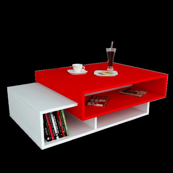Alphamoebel Table basse Tab blanc-rouge 105x32x60 cm