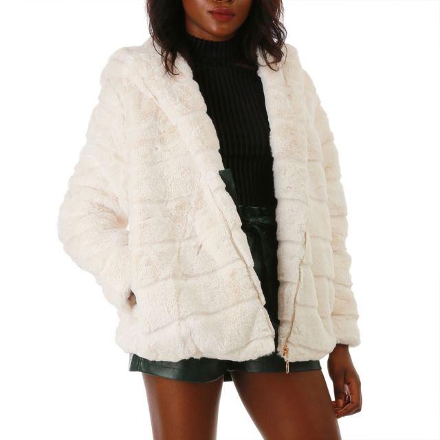 Lamodeuse - Veste courte blanche à capuche et fausse fourrure 6b19ba99e8f