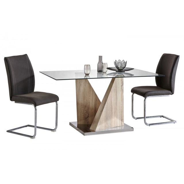 8969f58cf53631 Modern Design - Ensemble Pyra Alister  - Table De Sejour Pyra 150X90X75CM -  2 Chaises