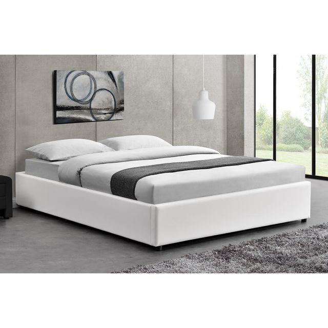 concept usine lit kennington structure de lit blanc avec coffre de rangement int gr. Black Bedroom Furniture Sets. Home Design Ideas