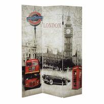 Marque Generique - Paravent en bois massif et toile 3 panneaux L120cm Home - Londres