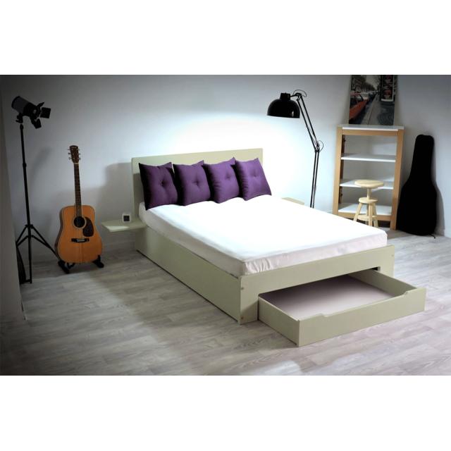 abc meubles lit happy tiroir chevets amovibles 2 places moka 140cm x 190cm pas cher. Black Bedroom Furniture Sets. Home Design Ideas