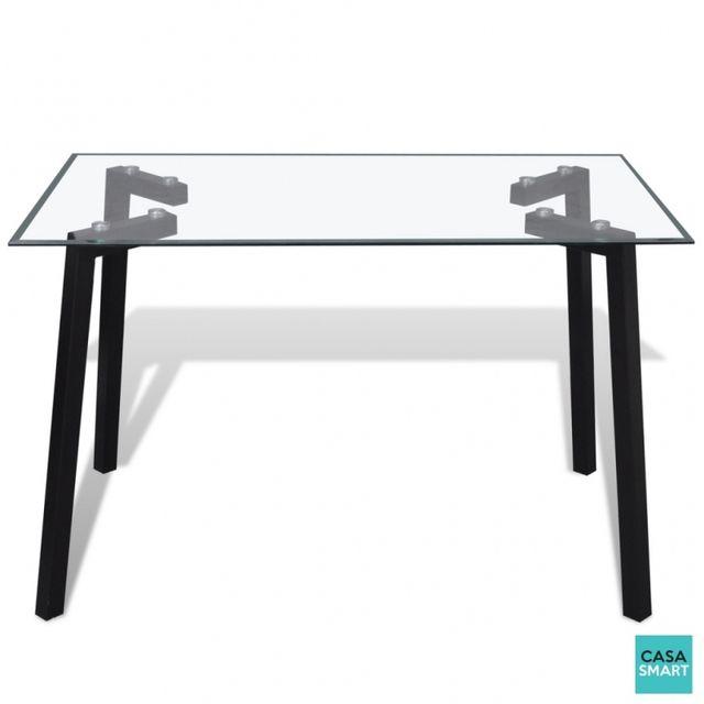 CASASMART Table 120 x 70 cm design avec plateau en verre