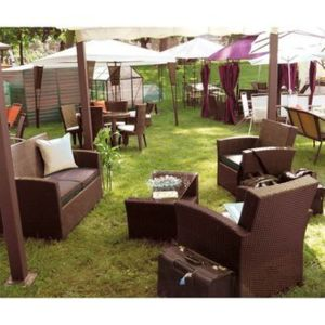 Delamaison - Salon de jardin Rhodes Canapé 2pl. + 2 faut. + table ...