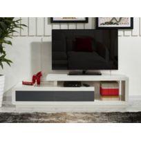 Meuble TV ARTABAN - 2 tiroirs - MDF laqué - Blanc et gris
