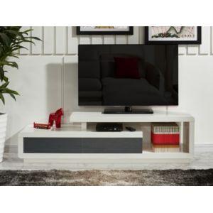 vente unique meuble tv artaban 2 tiroirs mdf laqu blanc et - Meuble Tv Blanc Vente Unique