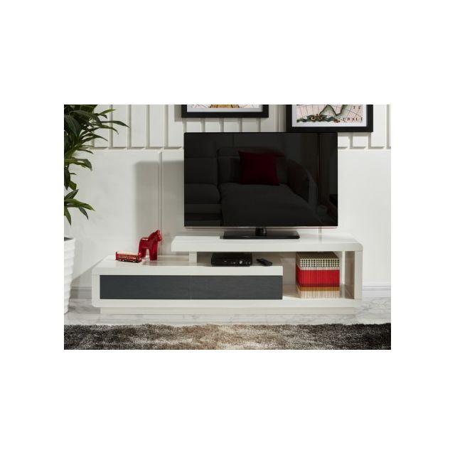 VENTE-UNIQUE - Meuble TV ARTABAN - 2 tiroirs - MDF laqué - Blanc et ...