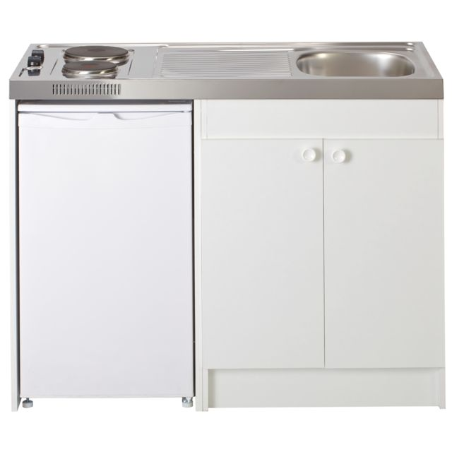 Meuble mélaminée blanc 2 portes, 2 plaques électriques. Réfrigérateur marque Frionor. Volume 91L. Porte réversible. Free