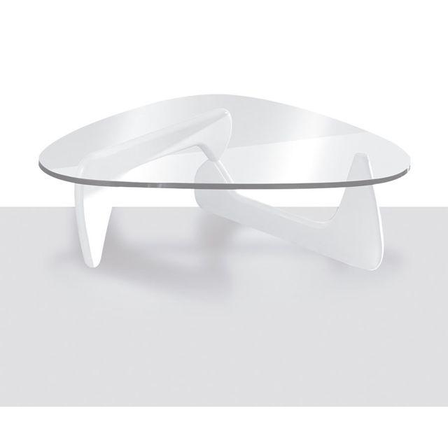 Kasalinea Table basse design blanc laqué et verre trempé Celestine 2