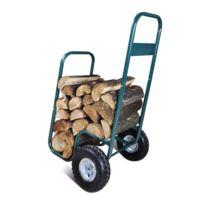 - Chariot à bûches avec roues capacité 60kg