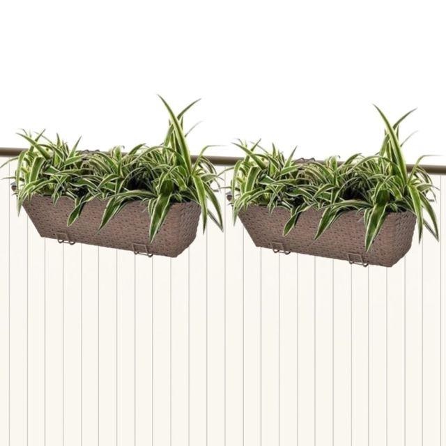 Vidaxl Lot De 2 Bacs Pot De Fleurs Trapeze Pour Balcon En Rotin