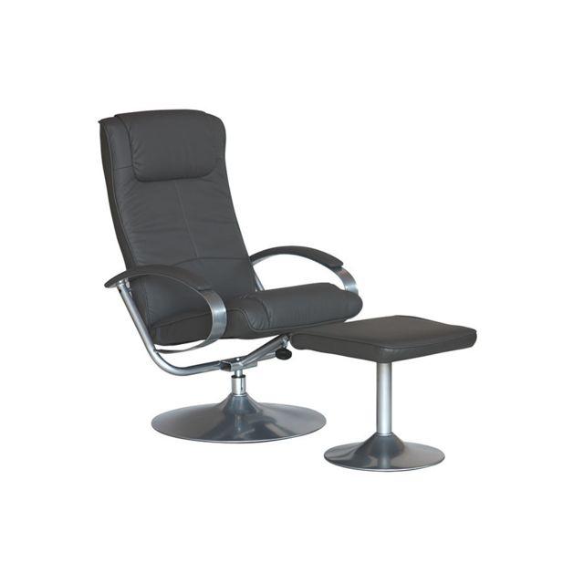 Sofamobili Fauteuil gris de relaxation avec repose-pieds Tropic, 3 coloris
