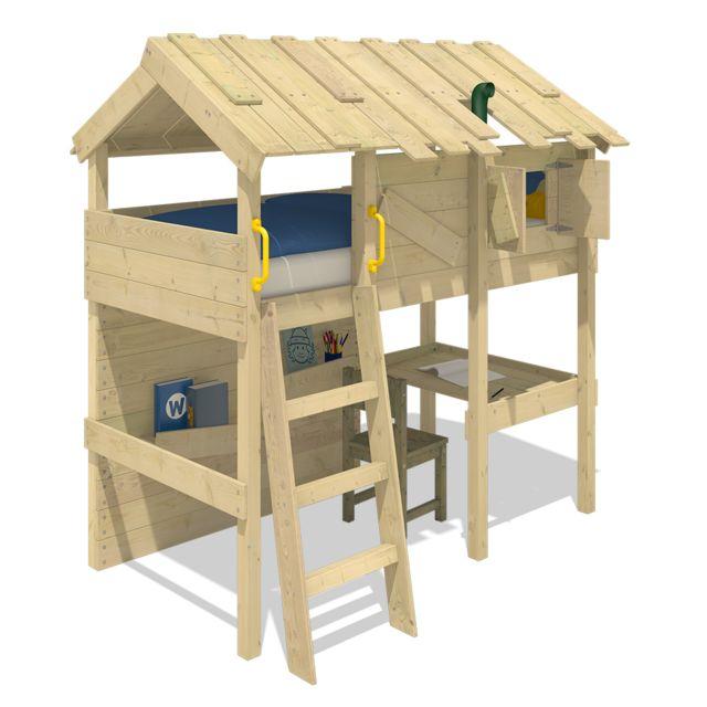 WICKEY Lit mezzanine en bois CrAzY Island pour enfants