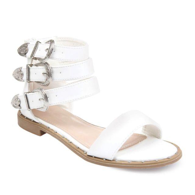 Lamodeuse - Sandales blanches avec boucles Western - pas cher Achat ... 55a0c3bfcc6