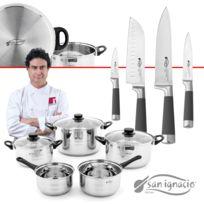 San Ignacio - Set de batterie de cuisine 8 pièces avec couvercles en verre et set de couteaux professionnels