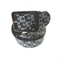 Innes - Ceinture Boucle Leather Chequered Black/Silver Cuir