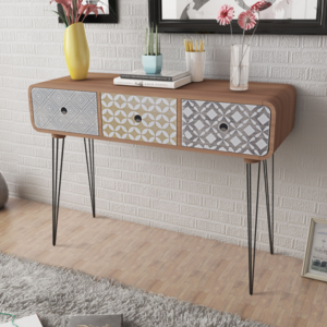 vidaxl commode table d 39 entr e 3 tiroirs brun pas cher achat vente commode rueducommerce. Black Bedroom Furniture Sets. Home Design Ideas