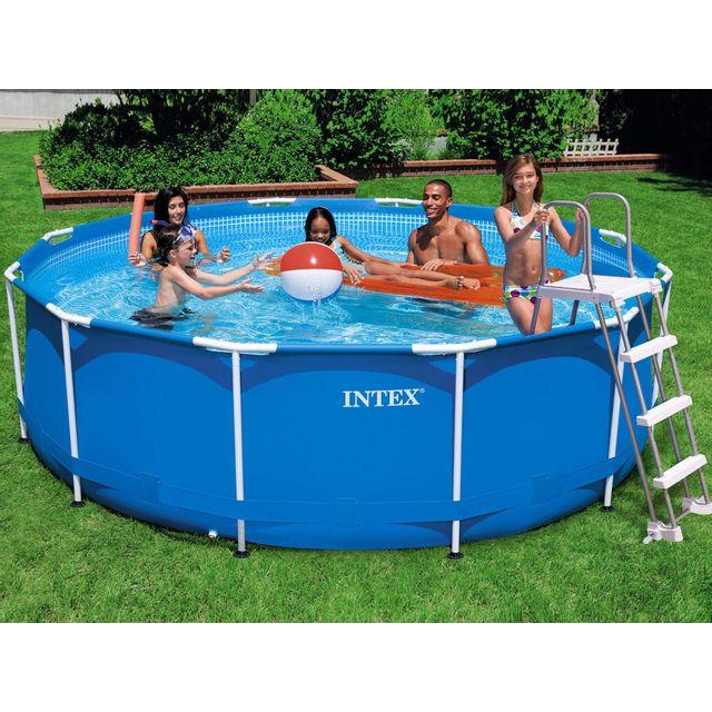 intex piscine tubulaire ronde chelle filtre d366x99cm metal frame pas cher achat. Black Bedroom Furniture Sets. Home Design Ideas