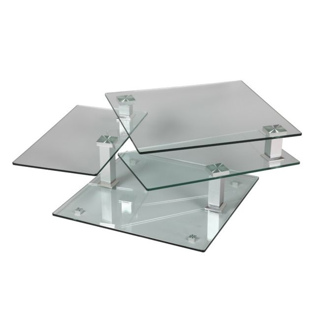 Tousmesmeubles Table basse en verre carrée - Quadra
