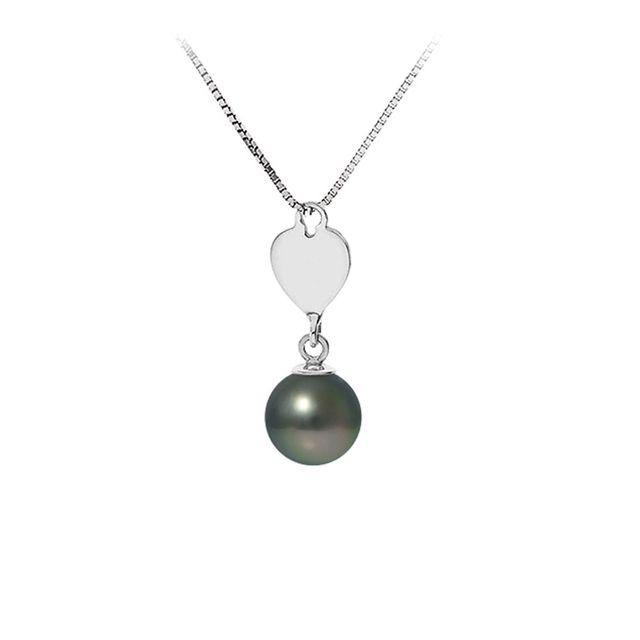 Blue Pearls Collier Pendentif Coeur Perle de Tahiti et Chaine en Argent Massif 925 - Bps K725 W