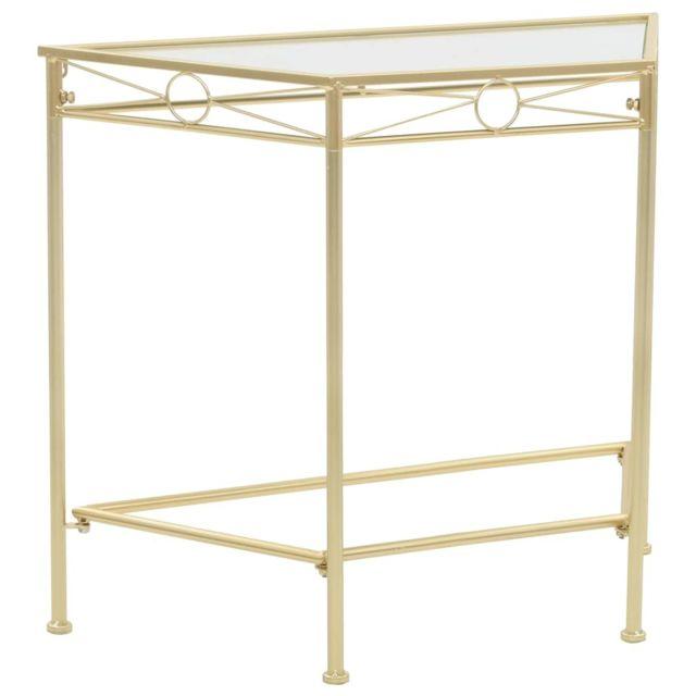 Superbe Consoles categorie Freetown Table d'appoint Style vintage Métal 87 x 34 x 73 cm Doré