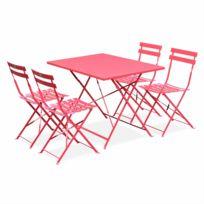 ALICE'S GARDEN - Salon de jardin bistrot pliable - Emilia rectangulaire rouge framboise 110x70cm avec quatre chaises pliantes, acier thermolaqué