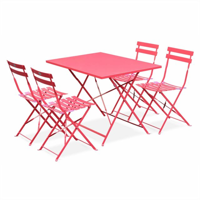 Salon de jardin bistrot pliable - Emilia rectangulaire rouge framboise  110x70cm avec quatre chaises pliantes, acier thermolaqué